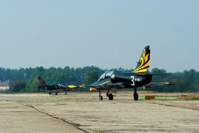 L-39 jet aerobatic team -Rus- board numbers - 3 and 4.