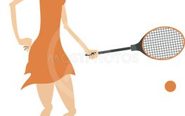 Pretty young woman playing tennis isolated illustration