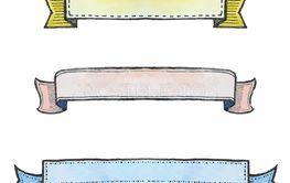 set of watercolor ribbon banners