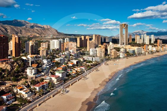 Coastline of a Benidorm city. Benidorm is a modern resort...