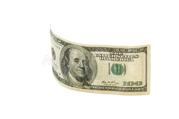 Dollar bank note isolated on the white
