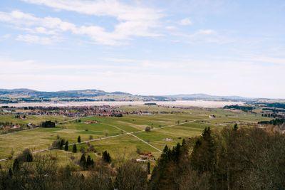 View from Neuschwanstein Castle to a valley in Bavaria,...