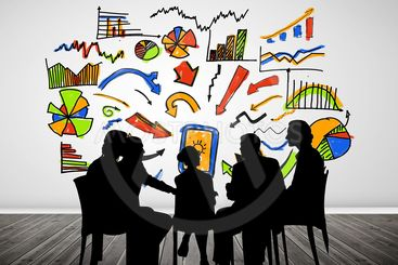 Composite image of businesspeople during a meeting