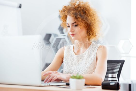 Attractive business woman working with laptop in office