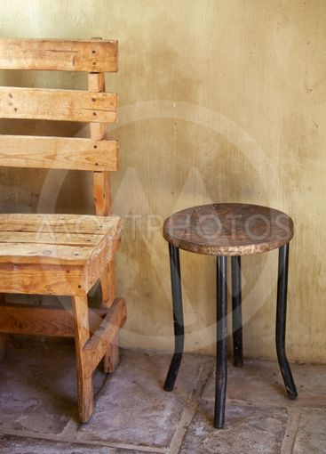 Table and chair, rustic