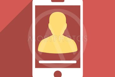 Mobile Contact Flat Longshadow Square Icon