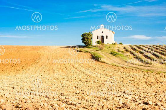 chapel with lavender field, Plateau de Valensole,...