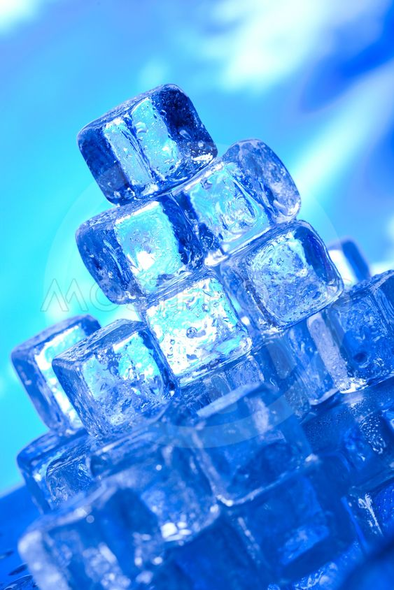 Blue and shiny ice cubes