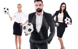 business and sport concept - young business people in...