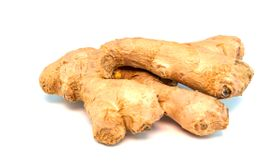 Ginger root on a white background with place for text.
