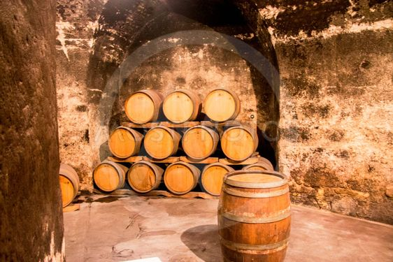 Old wooden barrels in the wine cellar of monastery