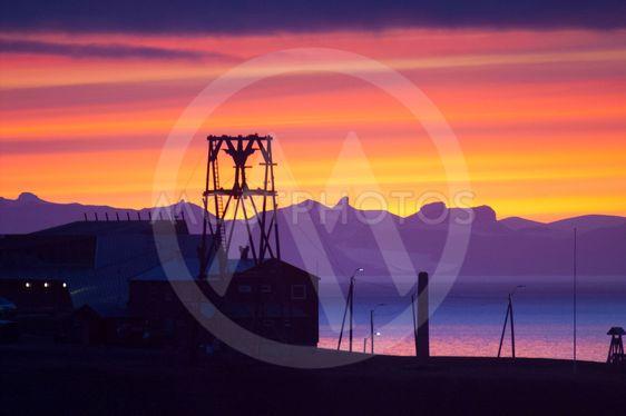 Longyearbyen in sunset