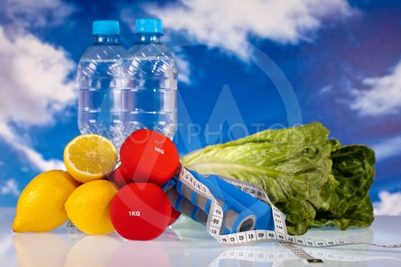 fitness gear and healthy food