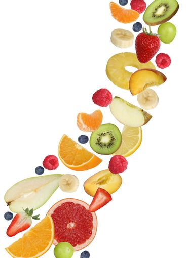 Flying fruits like apples fruit, oranges, banana and...