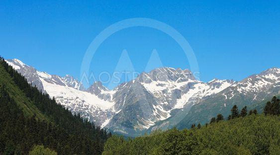 Caucasus mountains summertime. The Dombai mountain...