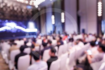 Blur audience in press conference hall