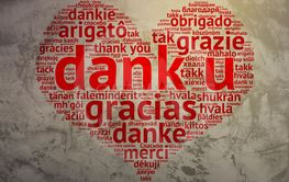 Dutch Dank U, Heart shaped word cloud Thanks, Grunge...