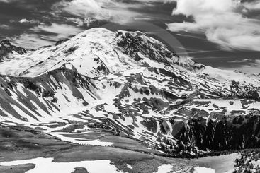 Black and white image of the north face of Mt. Rainier