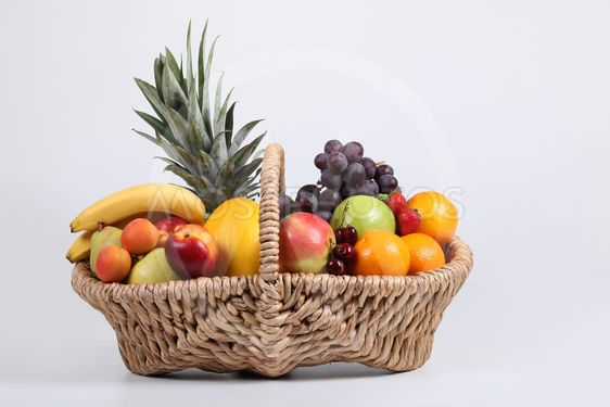 Studio shot of a basket of fresh fruit