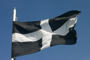 The Cornish flag blowing in the wind