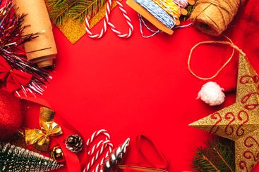 Christmas red flat lay frame composition.