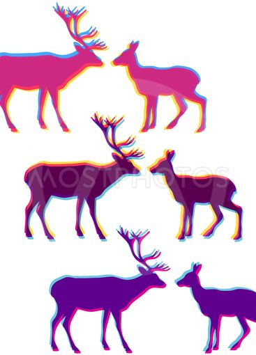 Two deer love silhouettes set, with multicolor stereo...