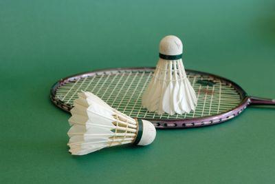 Racket and shuttlecocks