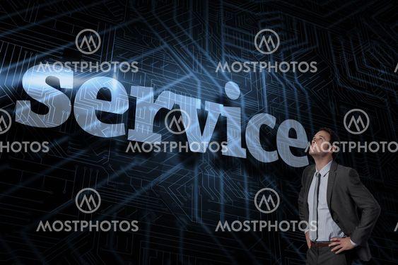 Service against futuristic black and blue background
