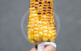 Grilled corns in hand on the street