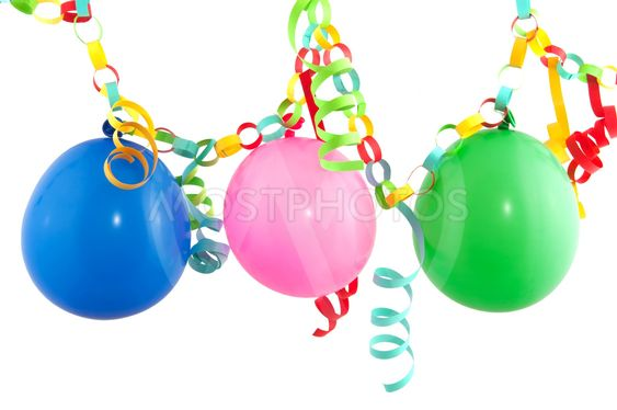 Festive paper guirlande with balloons