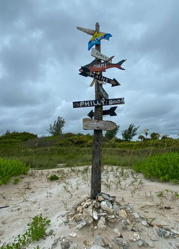 A city directional sign at a beach showing how far...