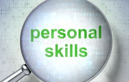 Learning concept: Personal Skills with optical glass
