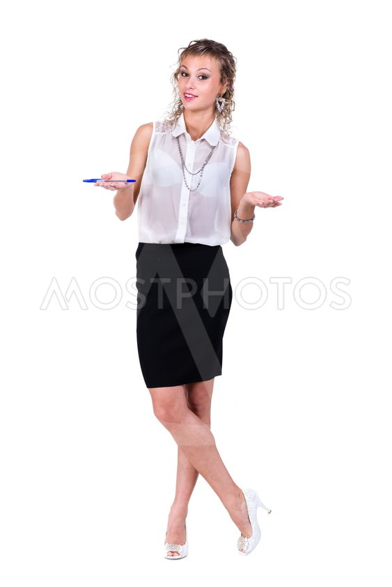 Business woman showing a copyspace isolated on white...