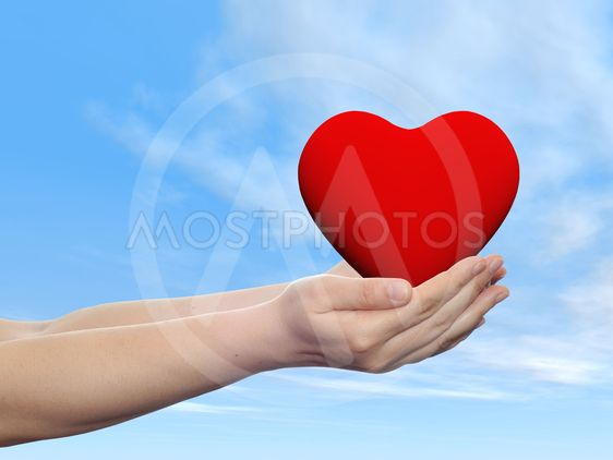 Concept or conceptual 3D red glass heart sign or symbol...