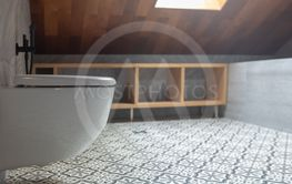 Modern white toilet bowl in bathroom with roof top window