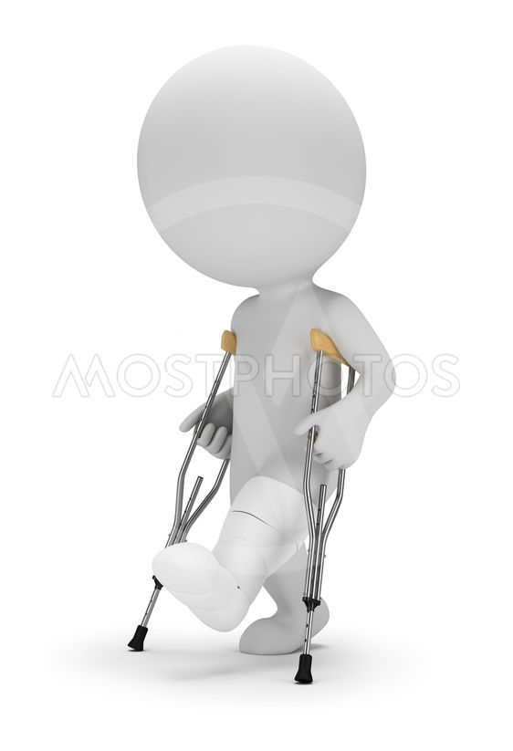 3d small people - on crutches
