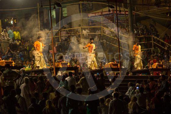 A group of priests perform Agni Pooja (Sanskrit: Worship...