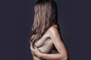 Nude girl or woman with sexy body and naked chest and...