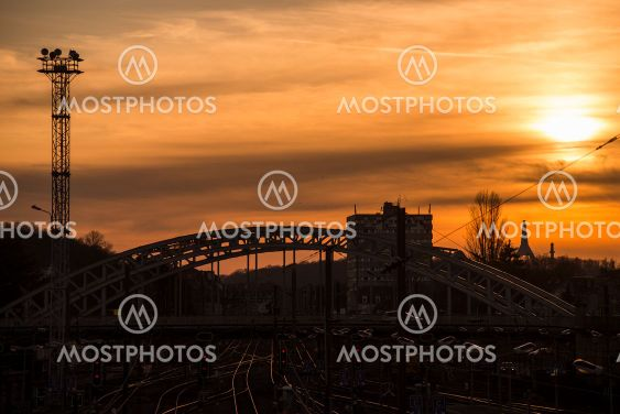 cityscape of Mulhouse in France with  railways and...