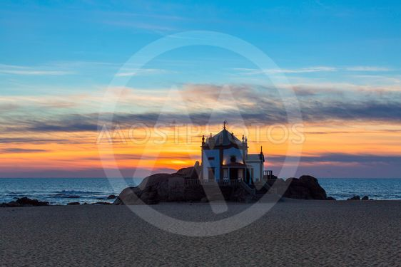 Chapel Senhor da Pedra at Miramar Beach, Portugal.