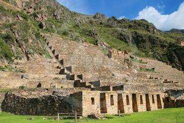 Terraces of Pumatallis at Inca Fortress in Ollantaytambo,...