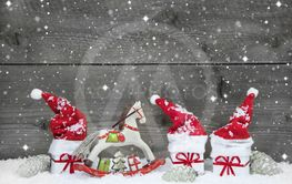 Cute grey shabby chic christmas background in red and...