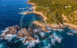 Drone picture over the Costa Brava coastal near the...