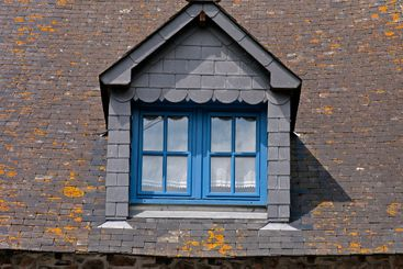 Roof with blue window