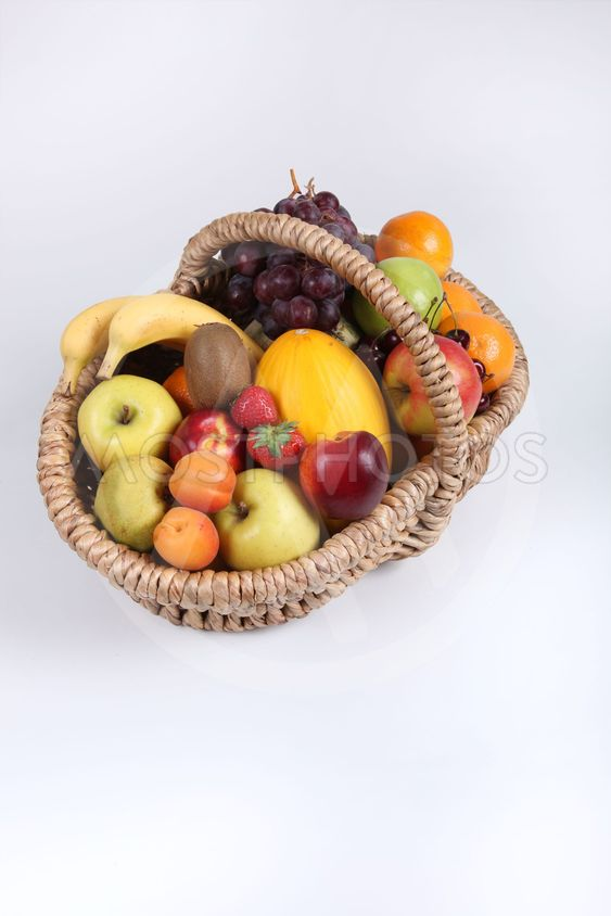 Studio portrait of a basket of fresh fruit
