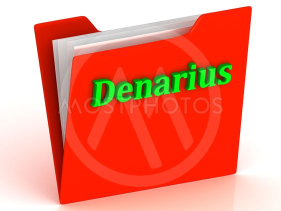Denarius- bright green letters on red paperwork folder