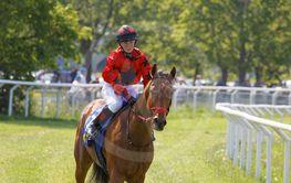 Closeup of jockey Malin Holmberg riding a gallop horse