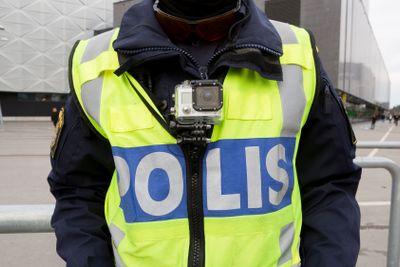 Polisman med actionkamera.