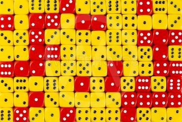 Background patteren of random ordered yellow and red dices