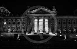 Bundestag parliament in Berlin at night in black and white